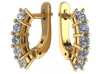 Серьги женские из золота с бриллиантами